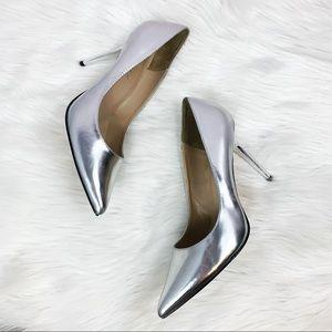 Pleaser USA Silver Shiny pointy tie heels 9.5